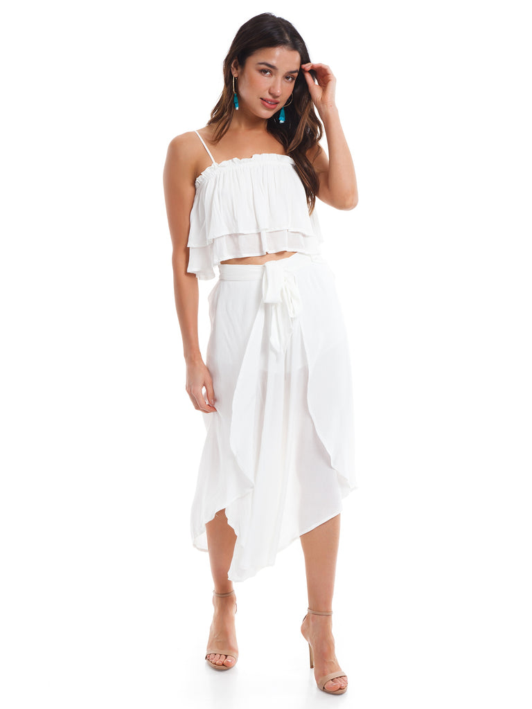 Women wearing a two piece rental from Cotton Candy called White Two Piece Set