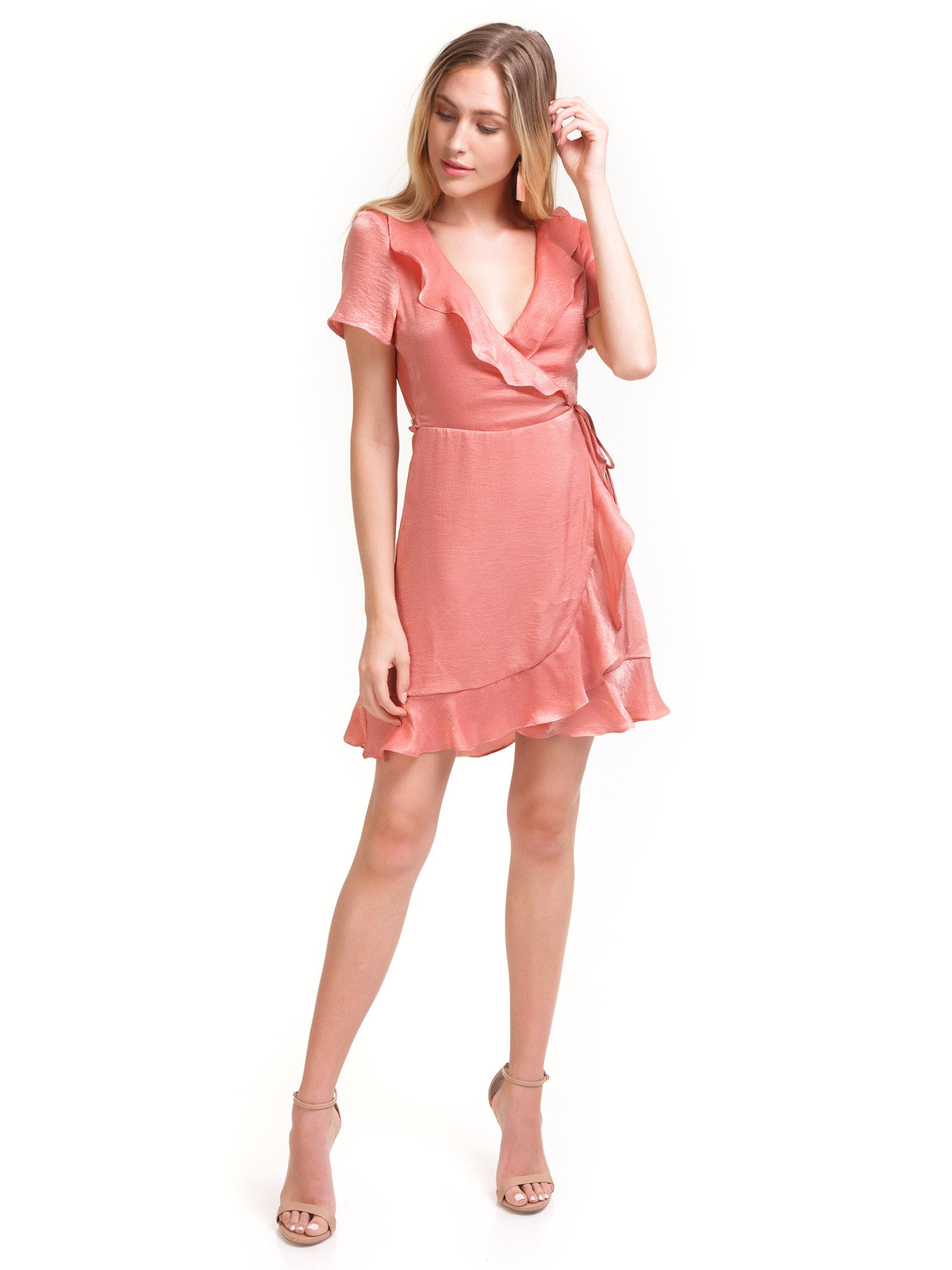 Girl outfit in a dress rental from Show Me Your Mumu called Winnie Wrap Dress