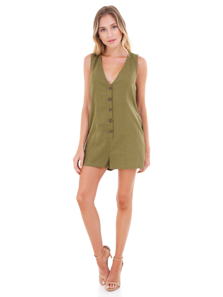 Women wearing a romper rental from FashionPass called Woven Button Down Romper