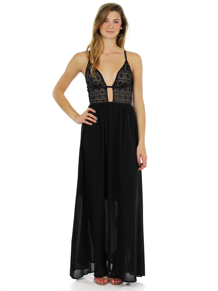 Women wearing a dress rental from WYLDR called Last Night Maxi Dress