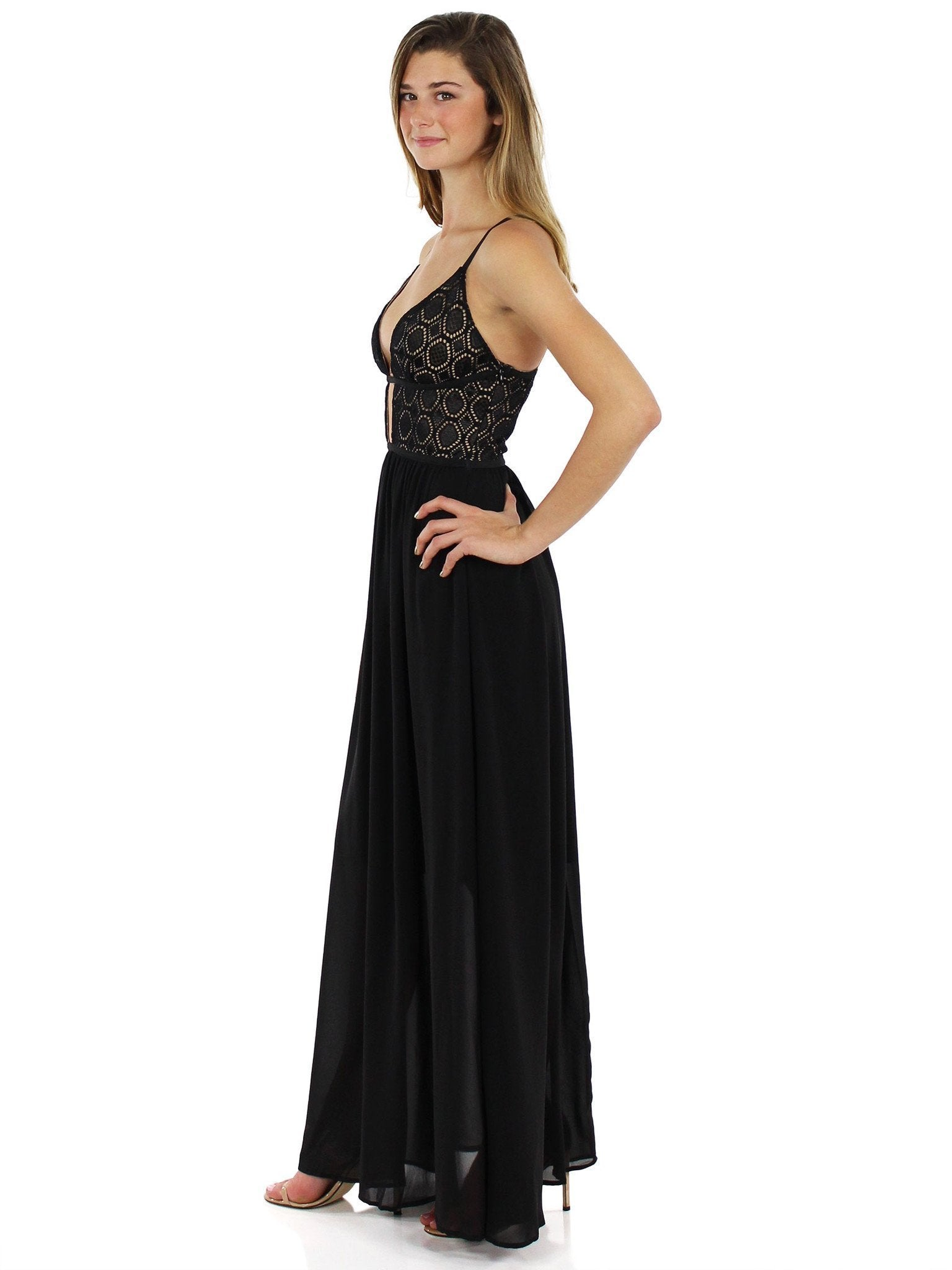 Woman wearing a dress rental from WYLDR called Last Night Maxi Dress