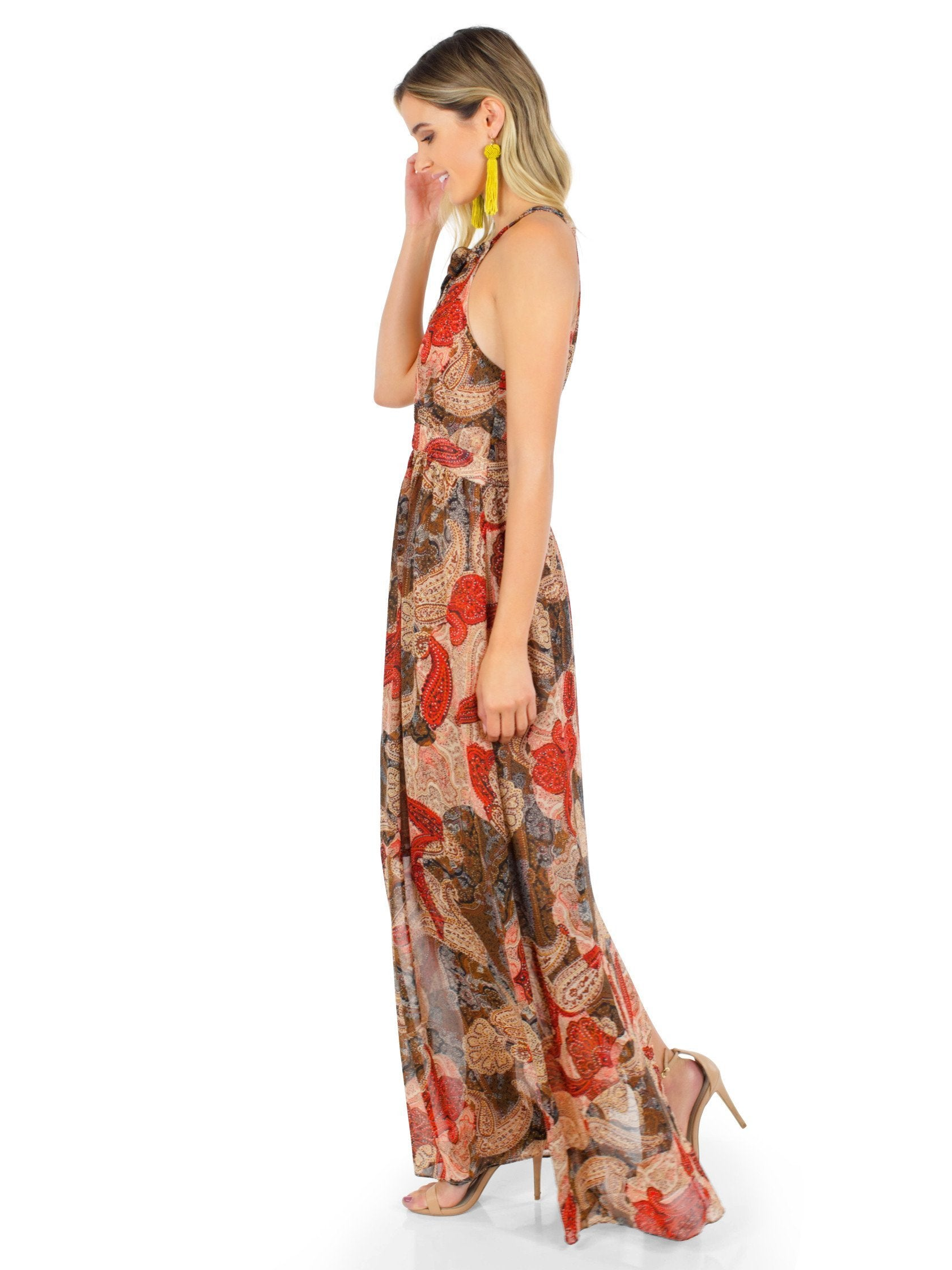Woman wearing a dress rental from WYLDR called Paint The Sky Maxi Dress
