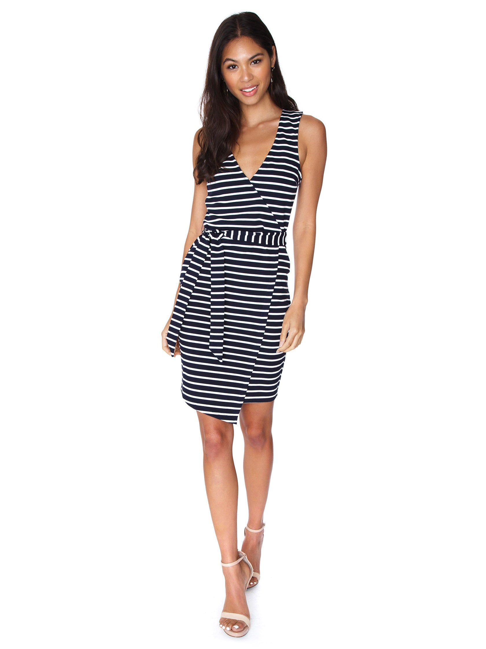 Women outfit in a dress rental from BB Dakota called Yacht Party Tie Waist Dress