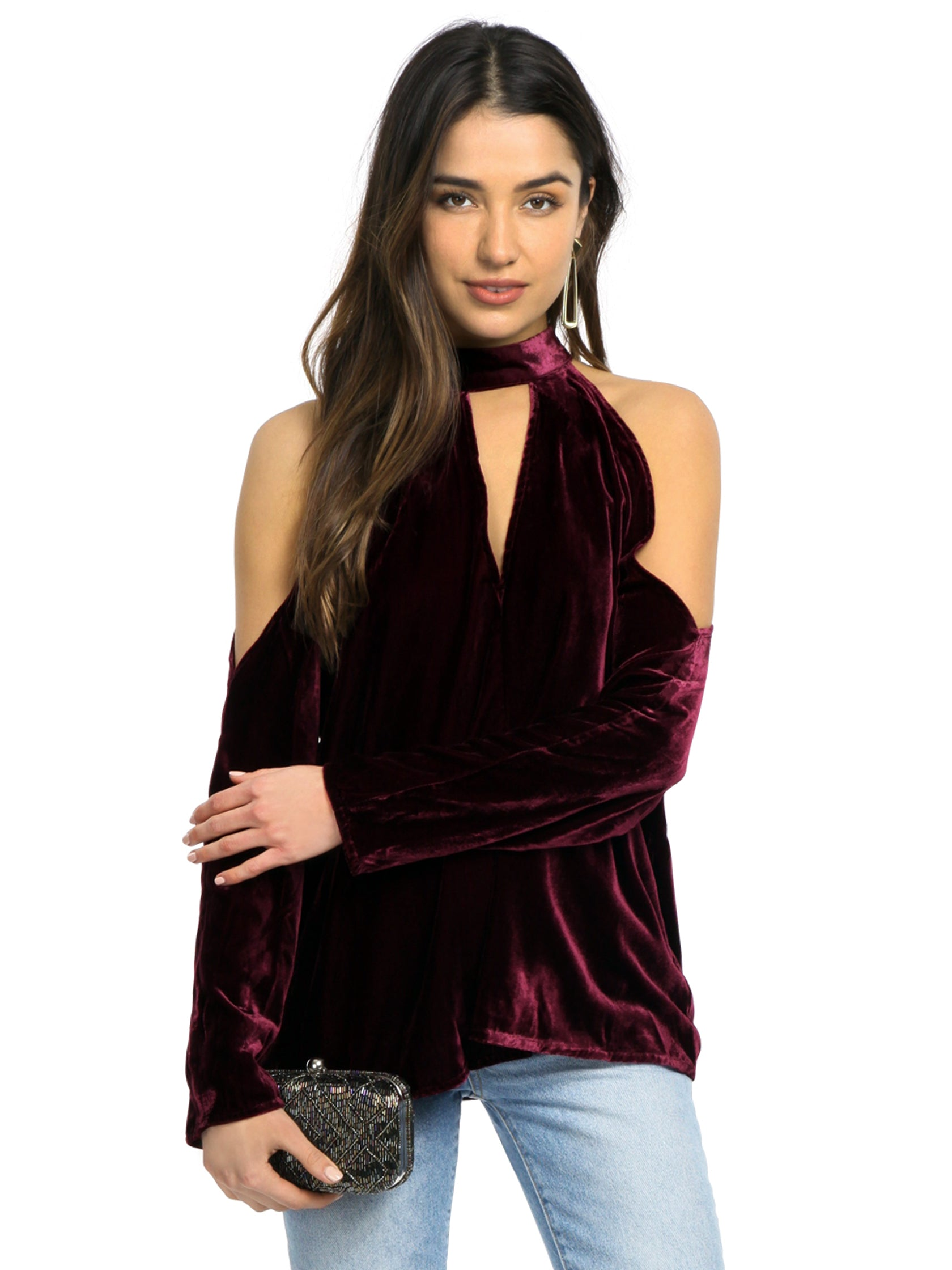 Woman wearing a top rental from YUMI KIM called Hot And Cold Velvet Top