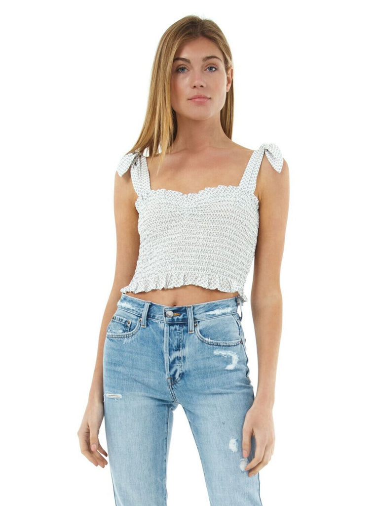 Women outfit in a top rental from Blue Life called Racquel Crop Top