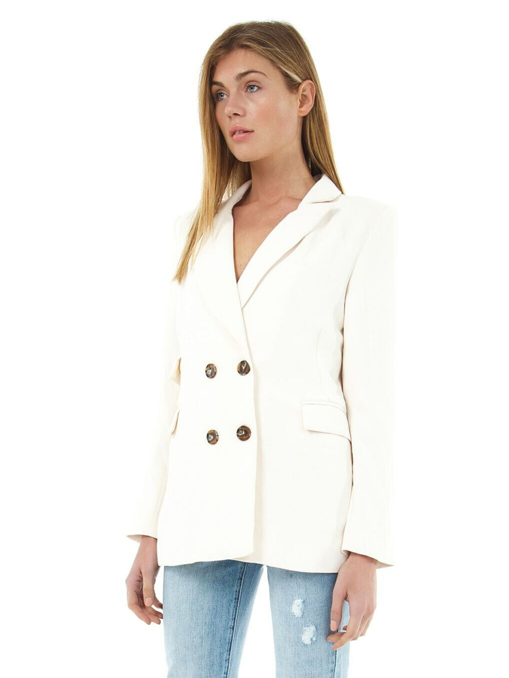 Women wearing a blazer rental from ASTR called Zodiac Blazer