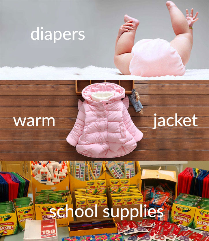For every new membership, we donate diapers, a warm jacket, or school supplies to Baby2Baby.