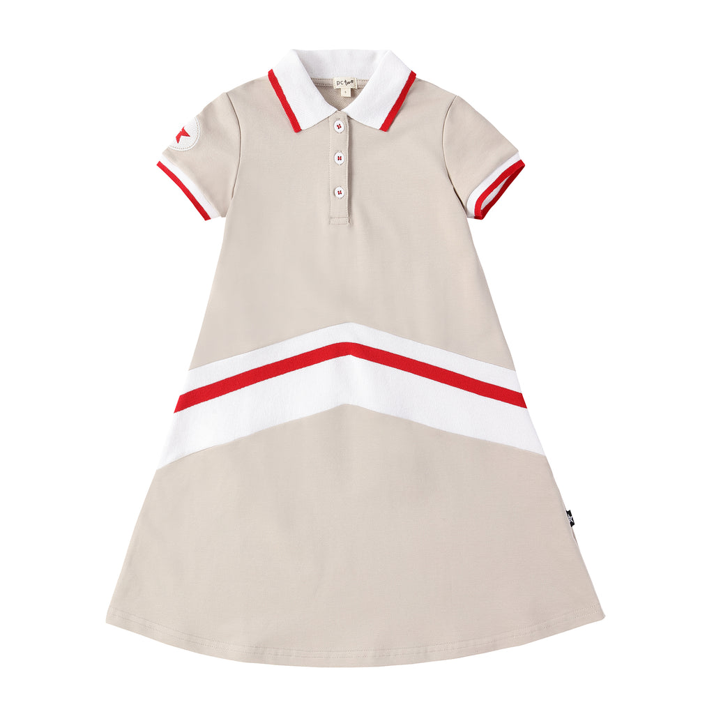 Girls Light Tan Polo Dress with Red and White Ribbing