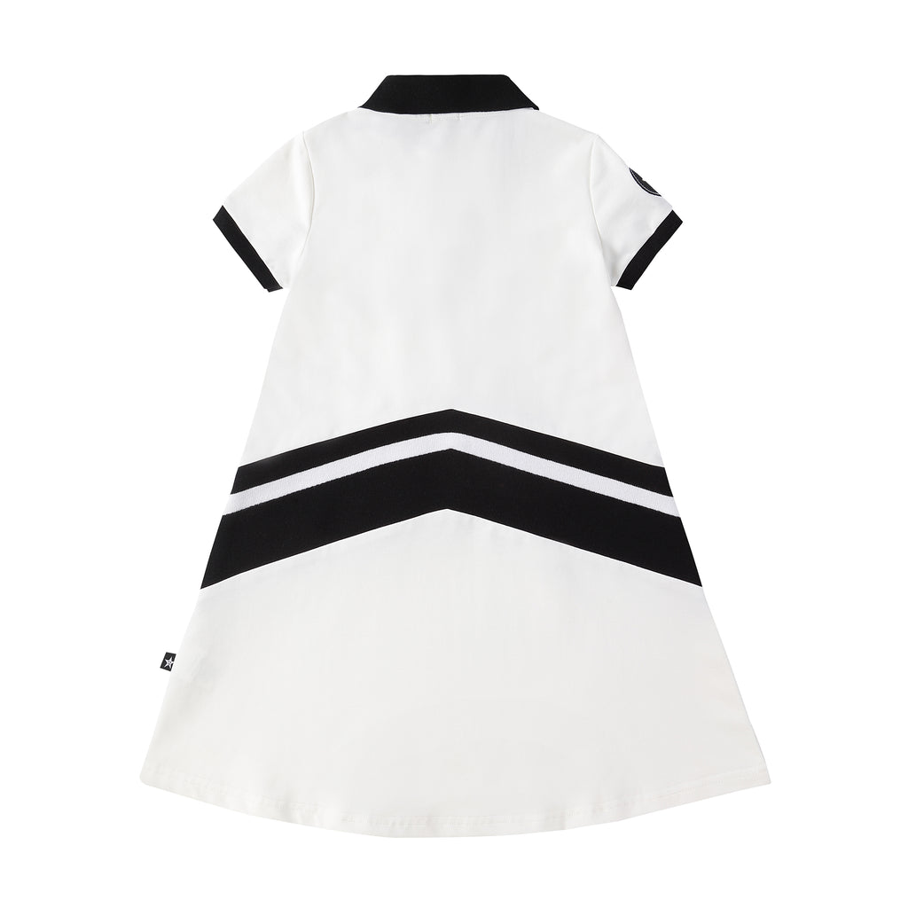Girls Black and White Polo Dress