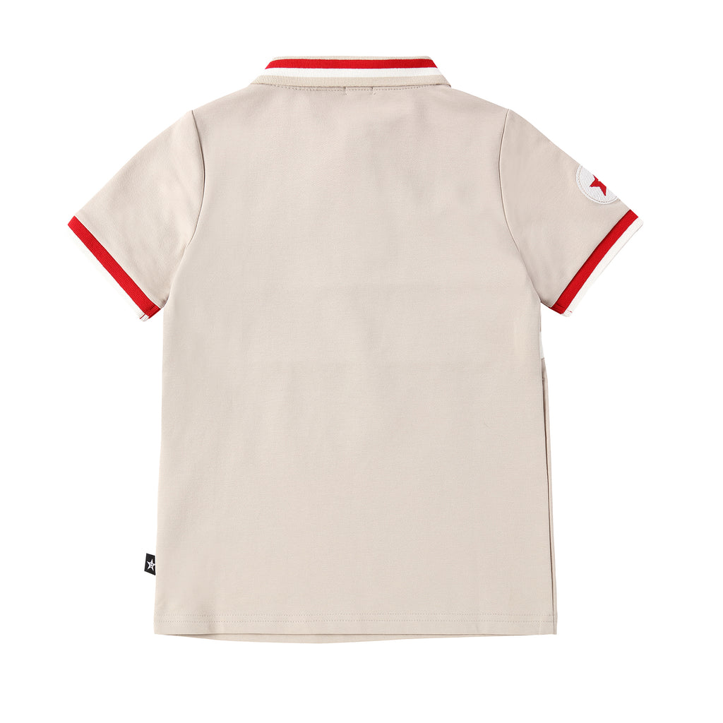 Boys Light Tan Polo with Red and White Ribbing Details