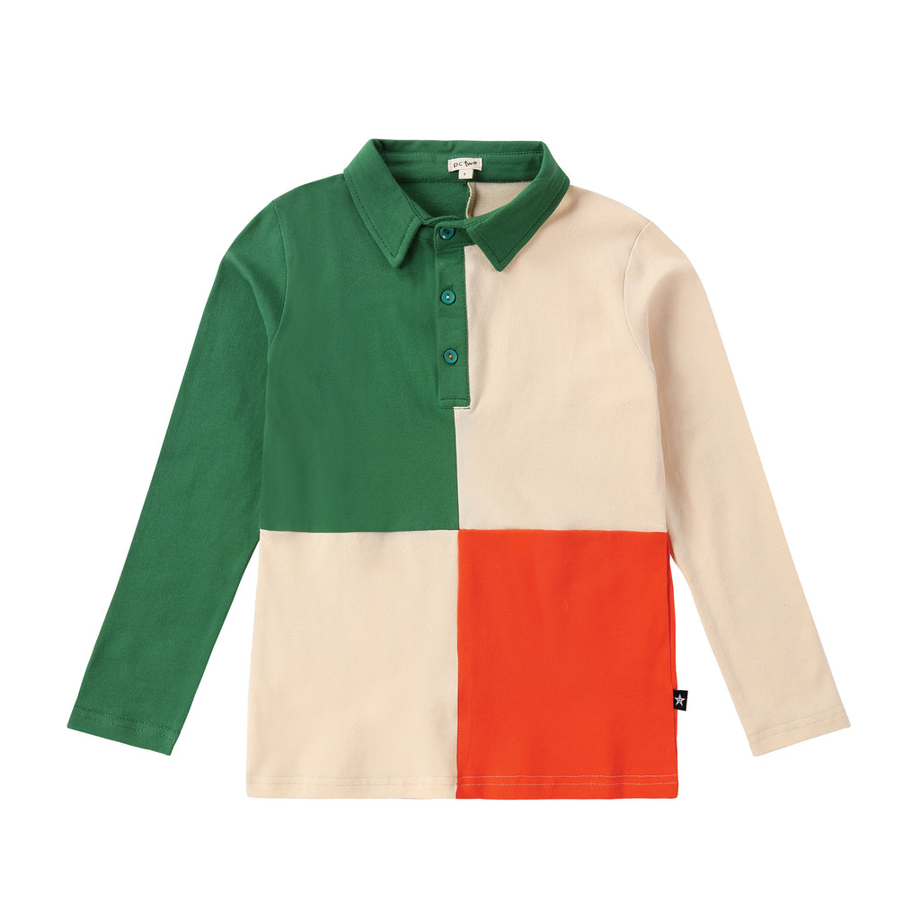Light Tan, Green and Orange Long Sleeve Color Block Polo