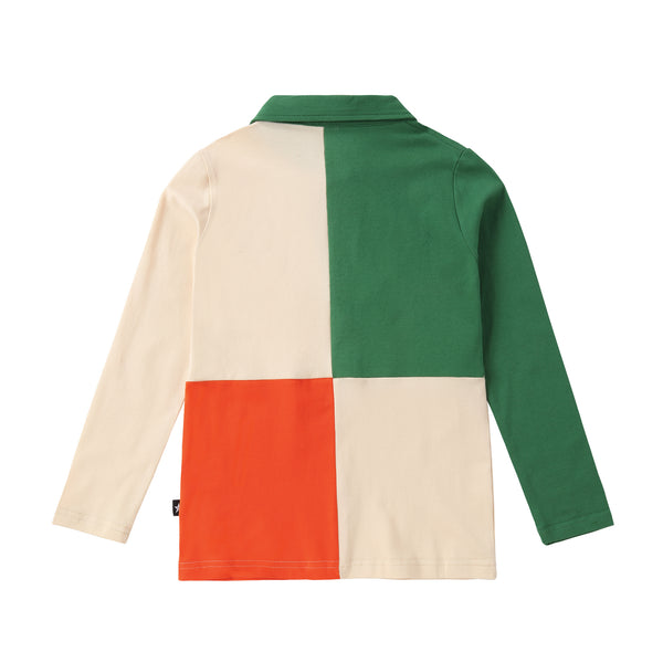 COMING SOON: Light Tan, Green and Orange Long Sleeve Color Block Polo