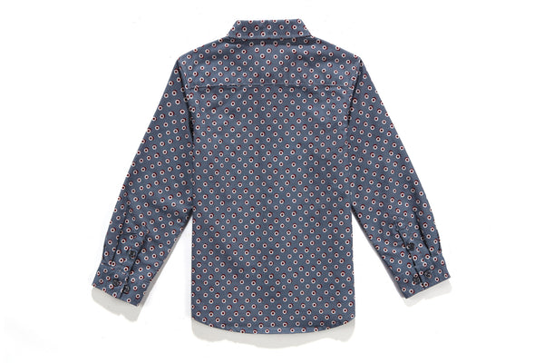 Aaron Collar Shirt in Blue Circles