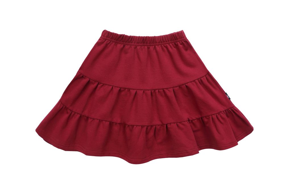 Girls Burgundy Tiered Skirt