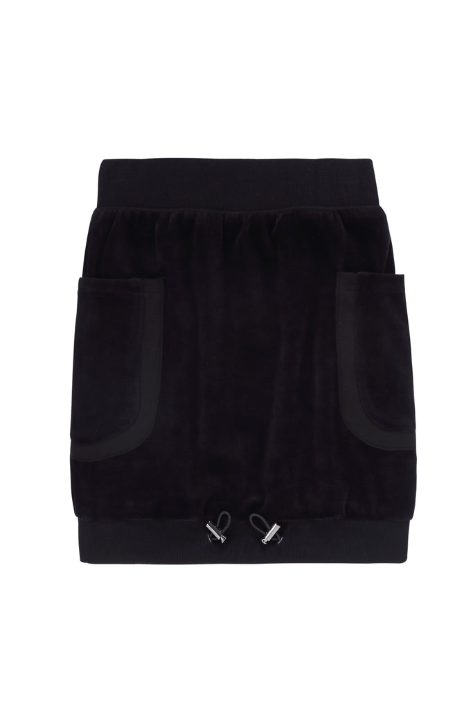 Girls Drawstring hem skirt in Black Velour