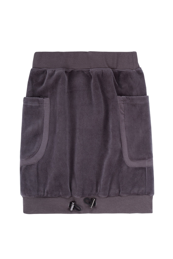 Girls Drawstring hem skirt in Grey Velour
