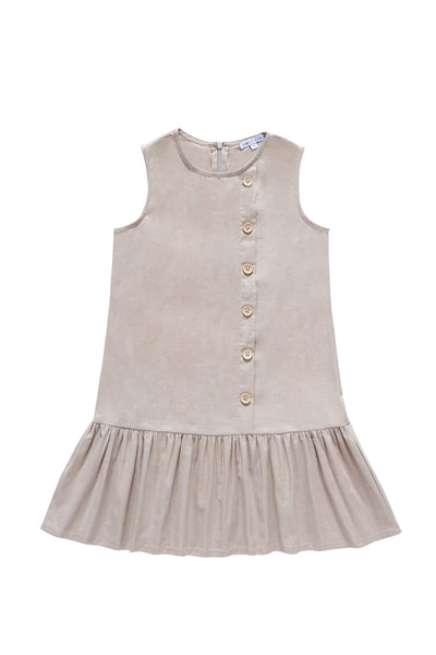 Girls'  Button down Dress in Sand