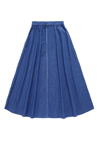 Teens' Maxi Outside Seam Skirt  in Blue Denim
