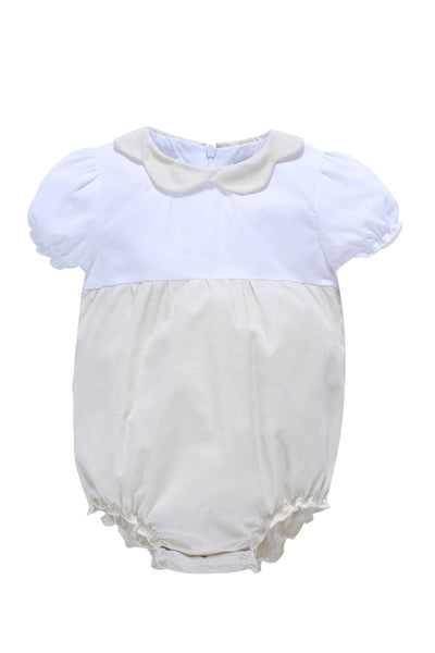 Baby Bubble Romper in Cream and White