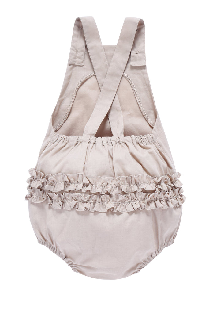 Baby Romper with Ruffles in Sand
