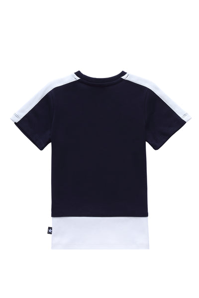 Girls' Black and White Colorblock T-shirt