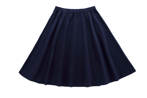 Girls' Polished Cotton Skirt in Navy