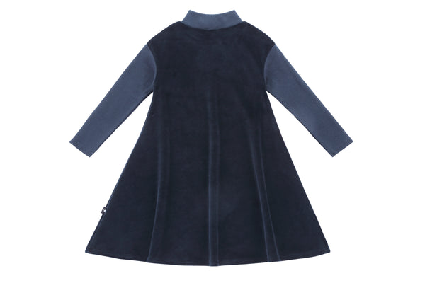 Girls' Navy Velour Dress with Ribbed Sleeves