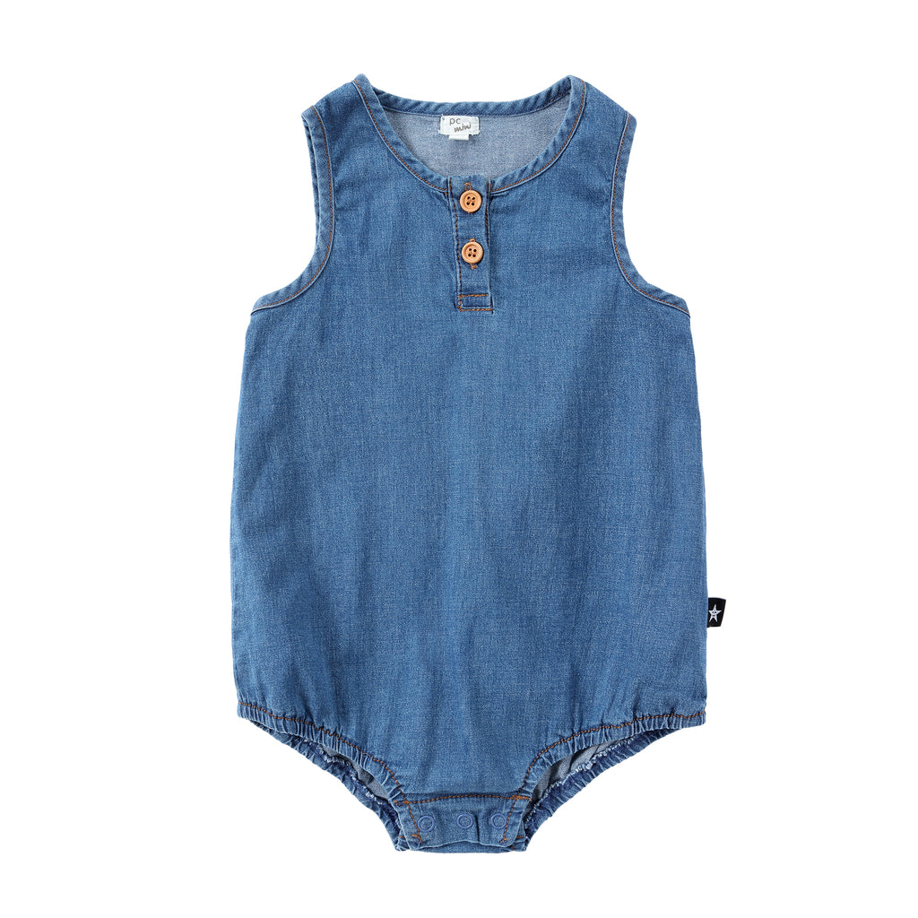 Blue Denim Bubble Romper