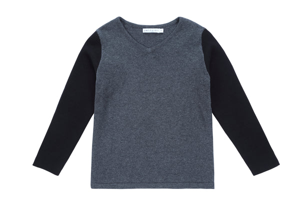 Boys Grey and Black Contrast Sweater