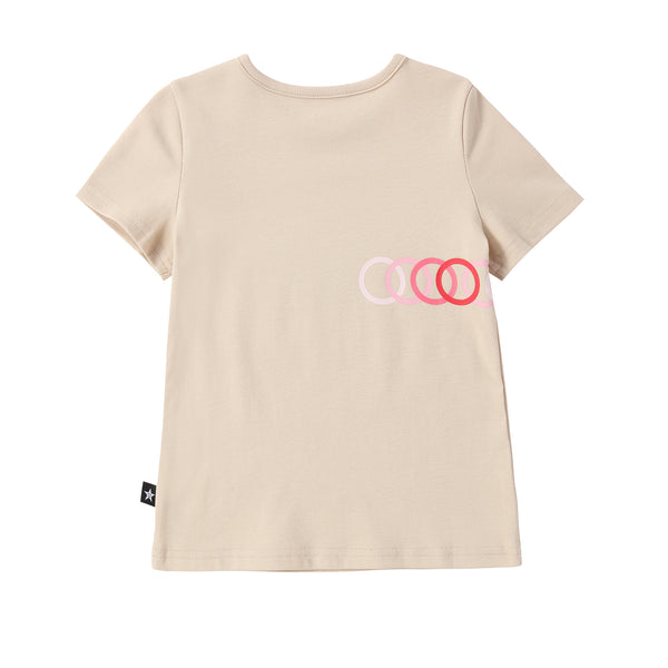 Bike Print Tshirt in Tan/Pink