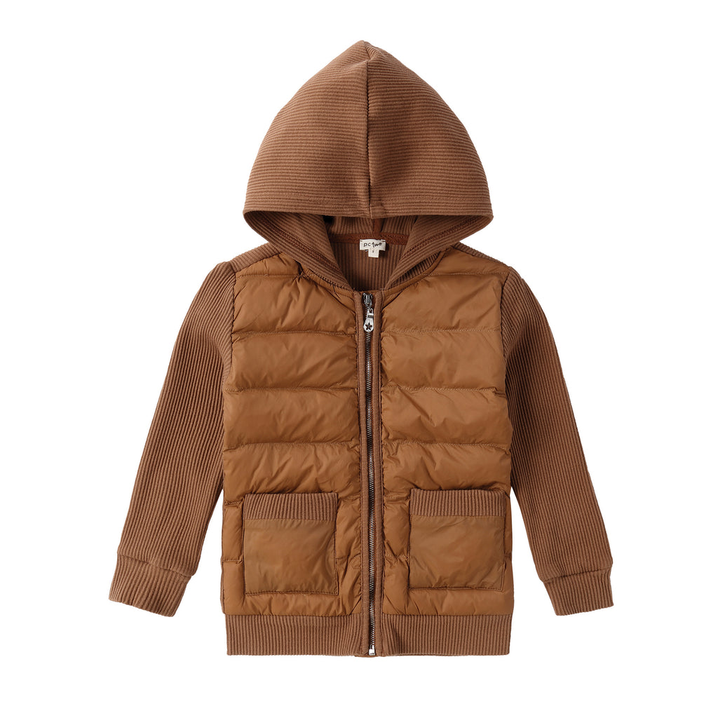Mocha Puffer Jacket with Pockets