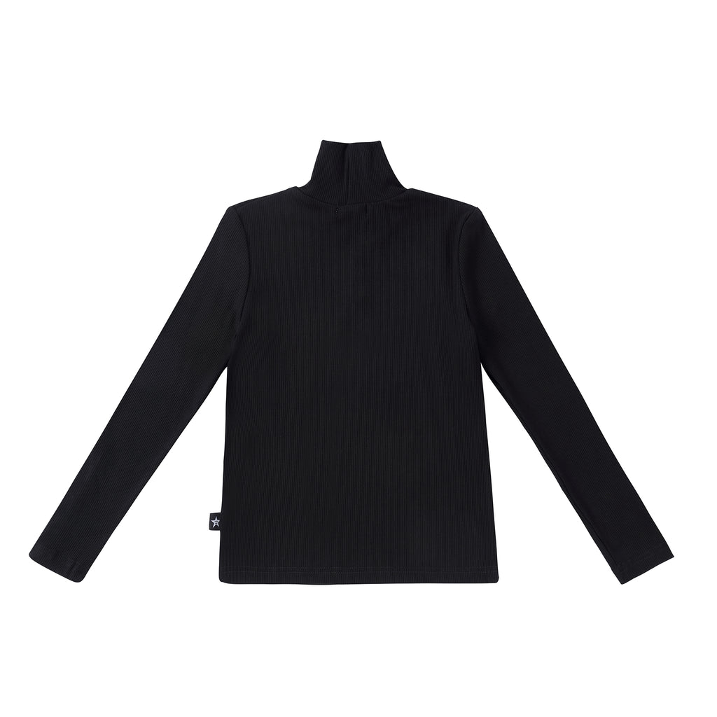 Black Ribbed Turtleneck with Button Details
