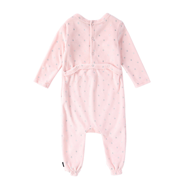 Baby Velour Onesie in Pink Polka Dot