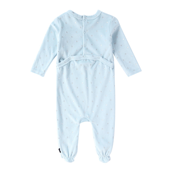 Baby Velour Onesie in Blue Polka Dot