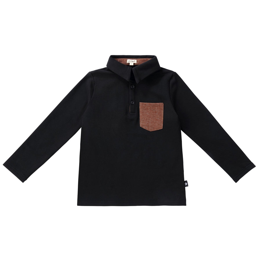 Boys Black Polo with Brown Pocket
