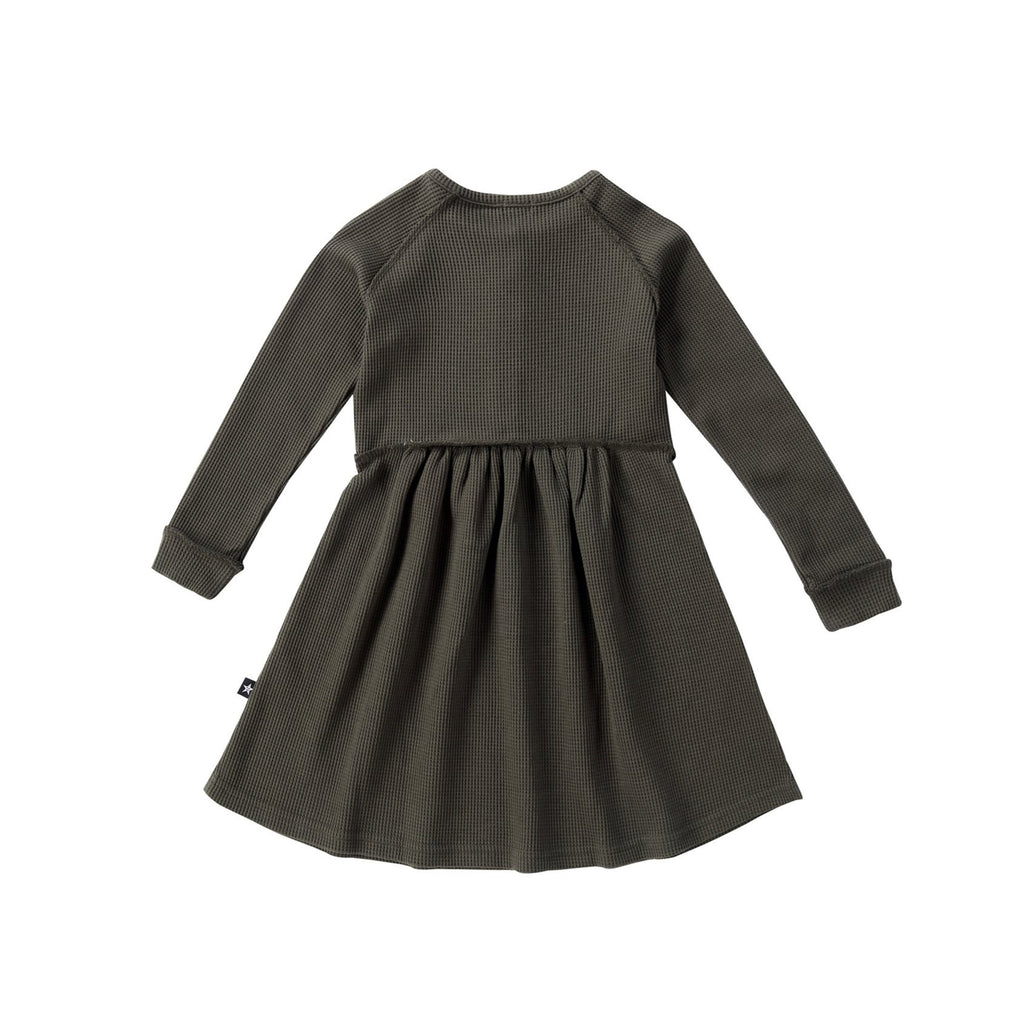 Girls Olive Waffle Knit Dress