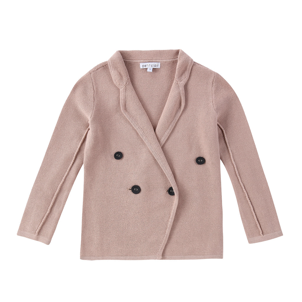 Girls Muave Double Breasted Knit Blazer