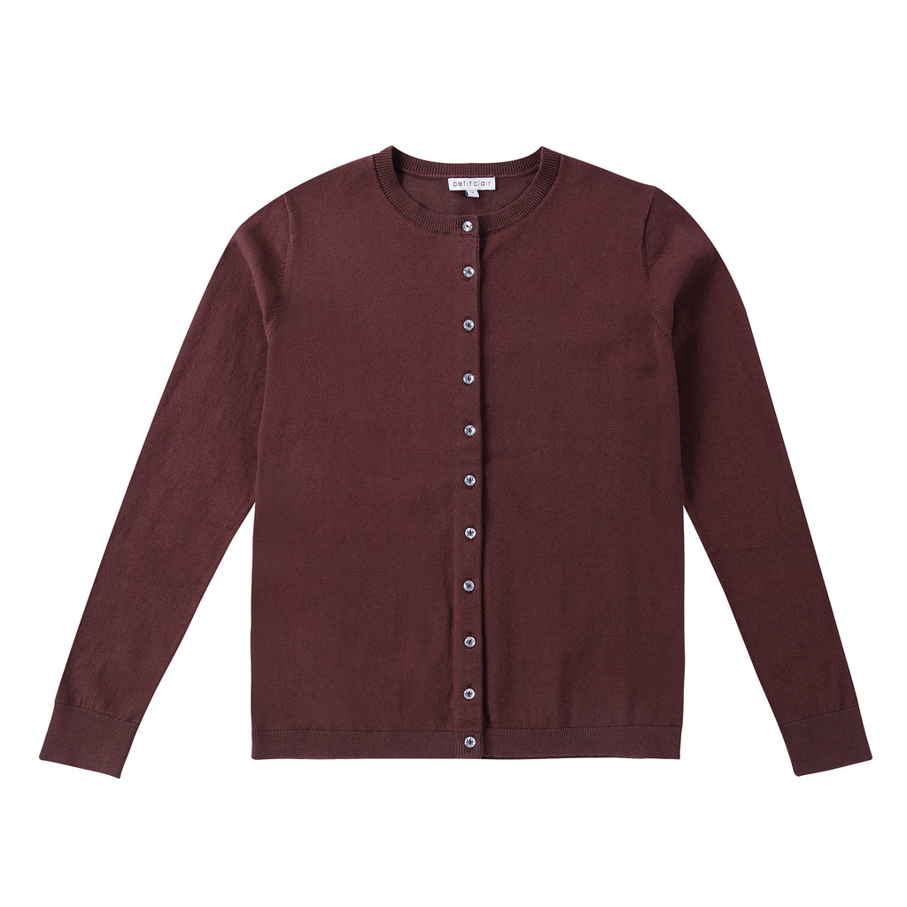 Teens Brown Button Down Cardigan