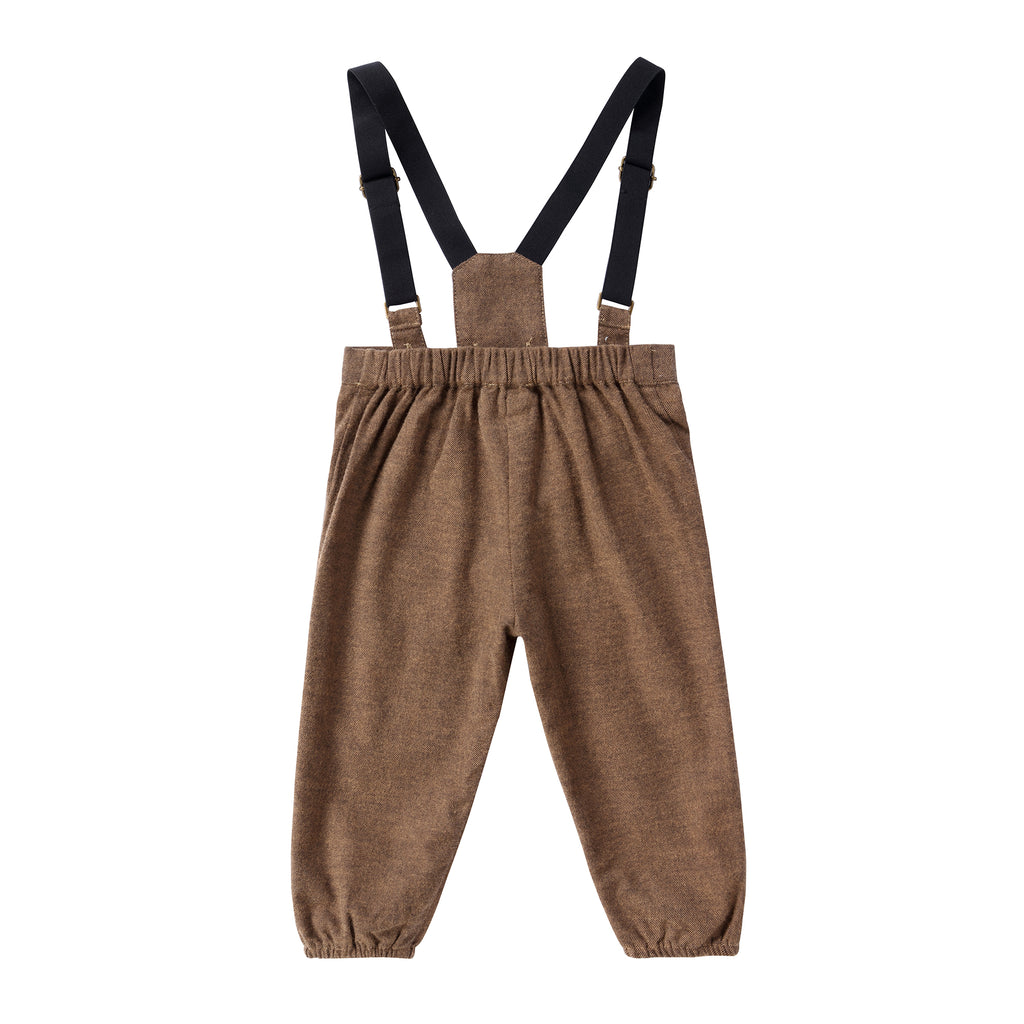 Baby Boy Brown Tweed Suspender Romper
