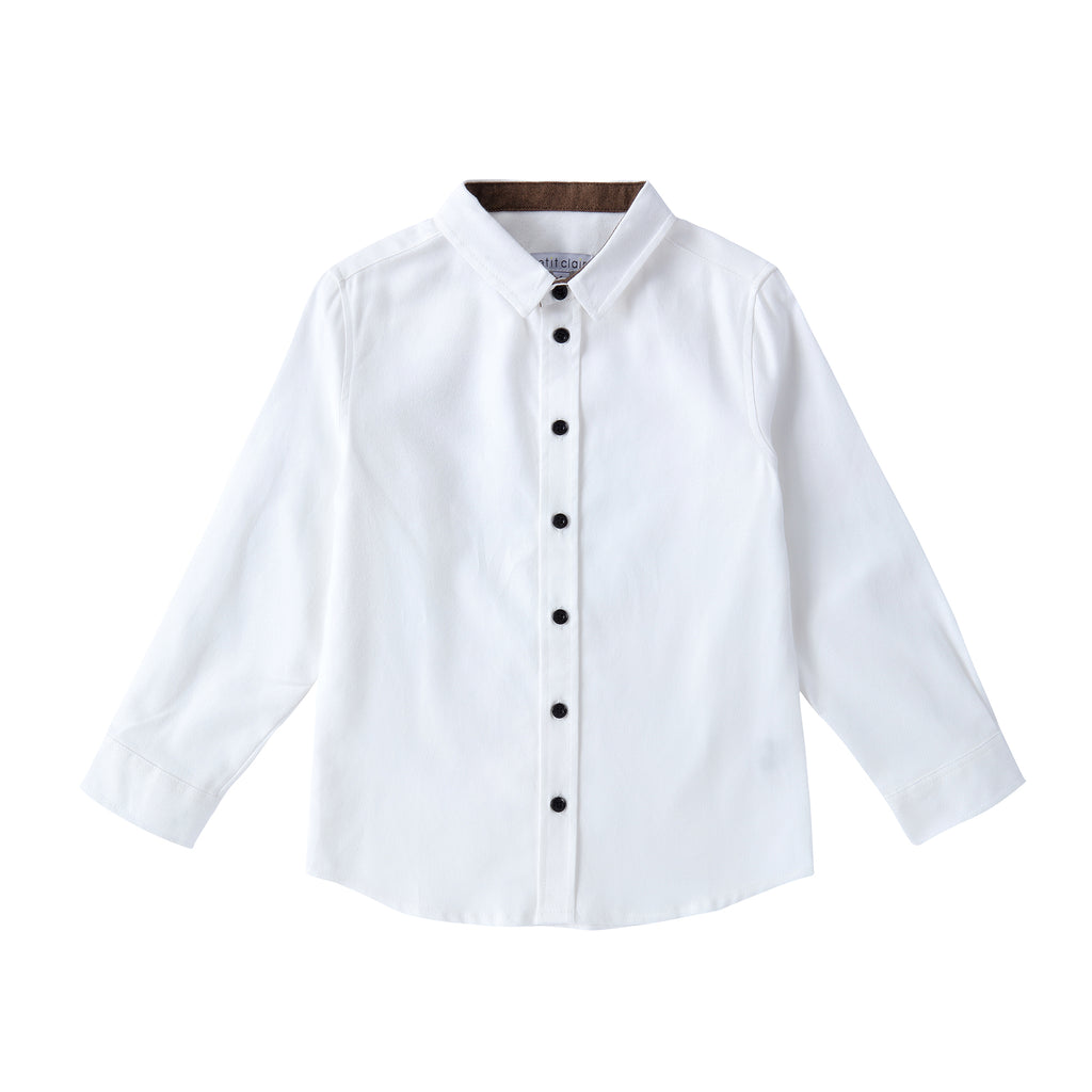 Boys White Shirt with Brown Contrast