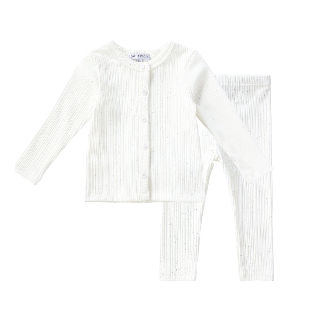 Baby Sparkly Ivory Ribbed Cardigan Set