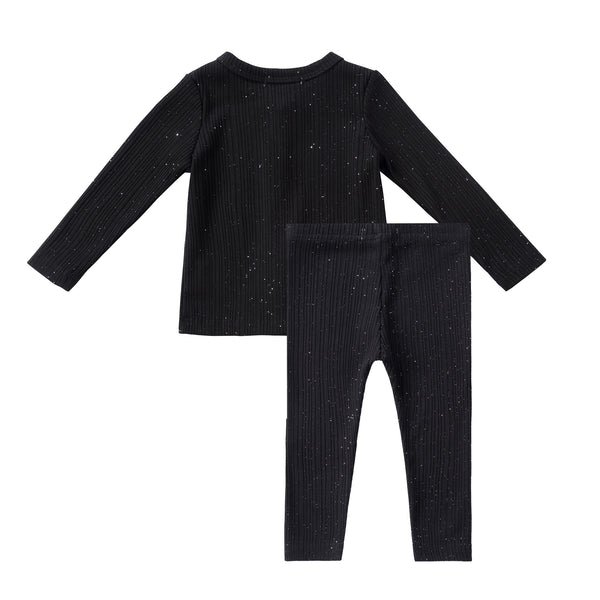 Baby Sparkly Black Ribbed Cardigan Set
