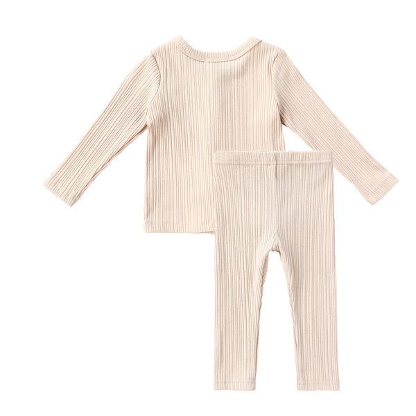 Baby Sparkly Tan Ribbed Cardigan Set