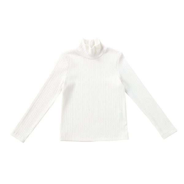 Girls Sparkly Ivory Ribbed Turtle-neck