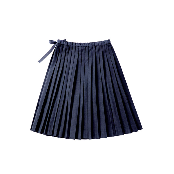 Girls Navy Pleated Skirt