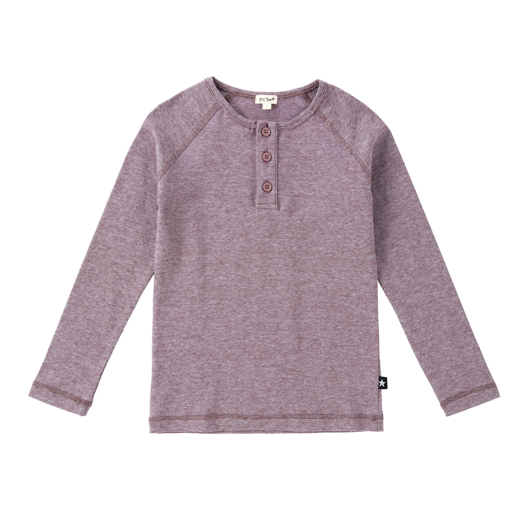 Boys Plum/Brown Henley