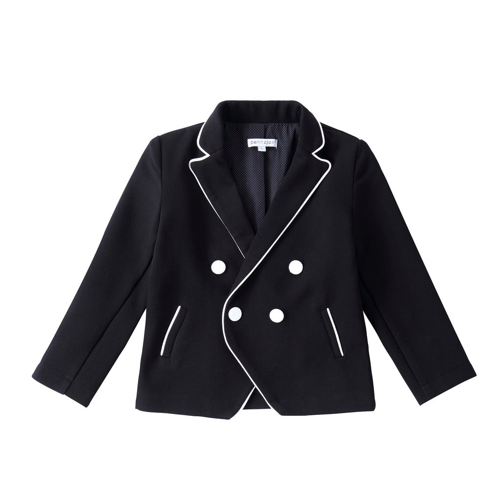 Boys Black Double Breasted Blazer with Ivory Piping