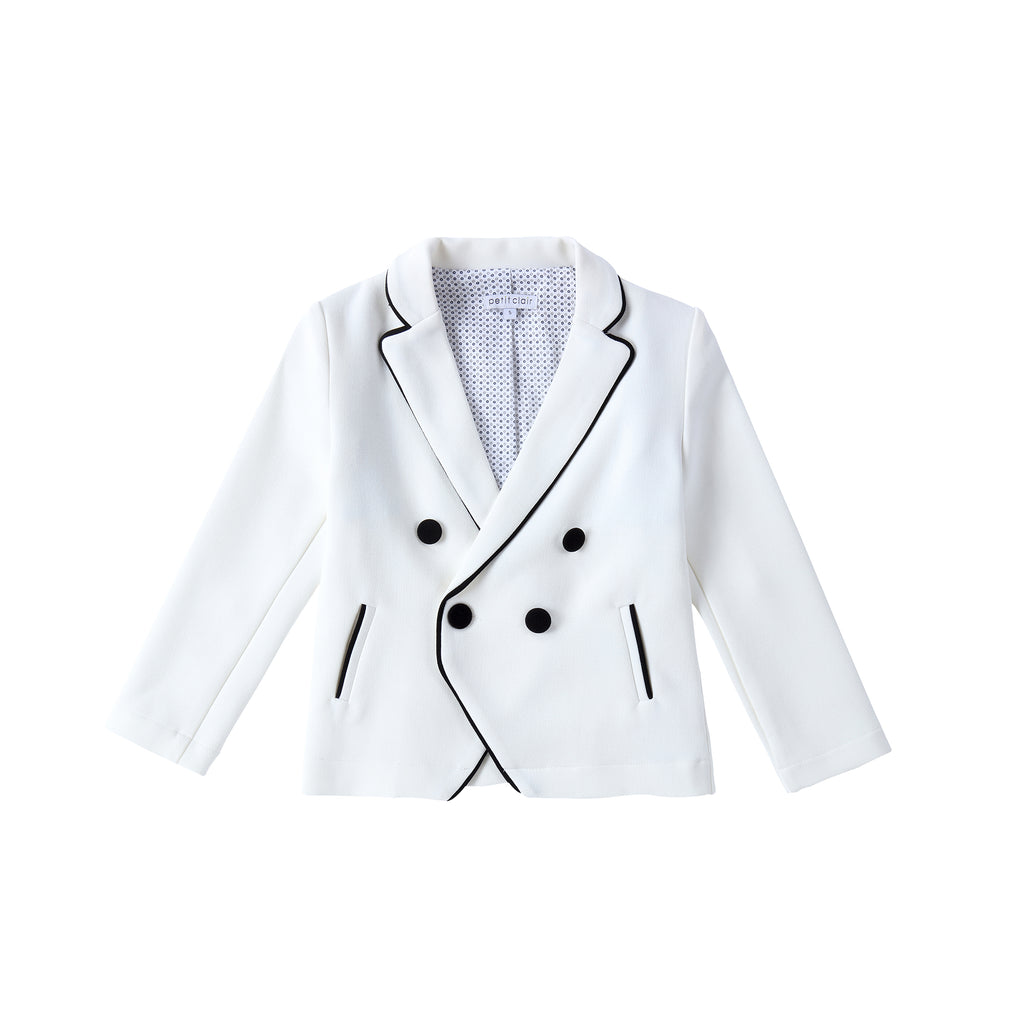 Boys Ivory Double Breasted Blazer with Black Piping