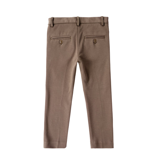 Boys four- Button Detail Pants in Brown