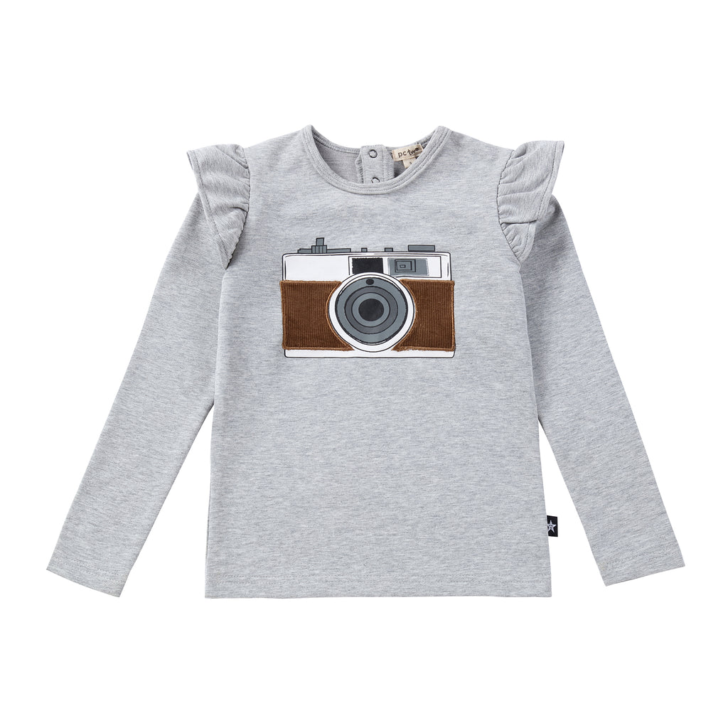 Girls Camera Tshirt with Brown Corduroy Details